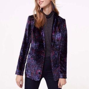 LOFT Purple Paisley Velvet Blazer NWT
